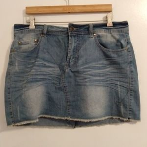 Toxic Cropped Cut Off Denim Jean Skirt Whiskering